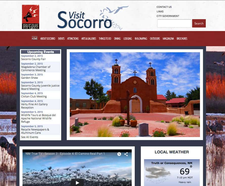 website design: Socorro Visitor Information, Socorro NM