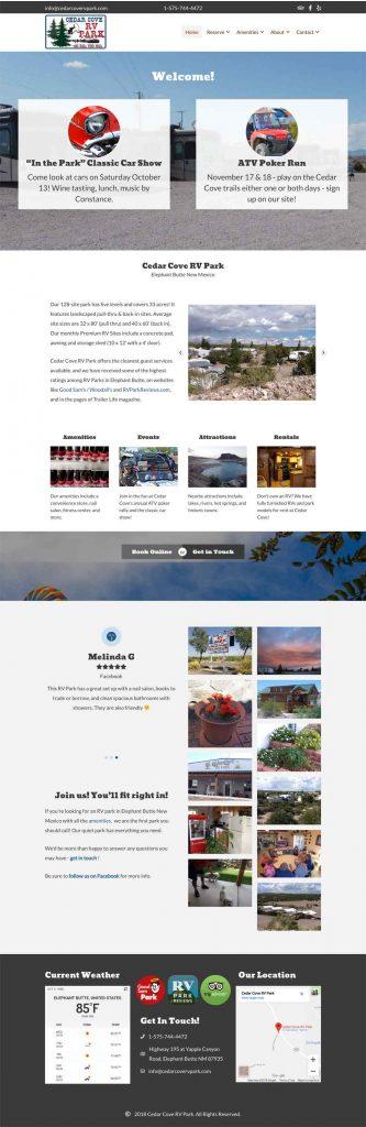 website for Cedar Cove RV Park, Elephant Butte NM