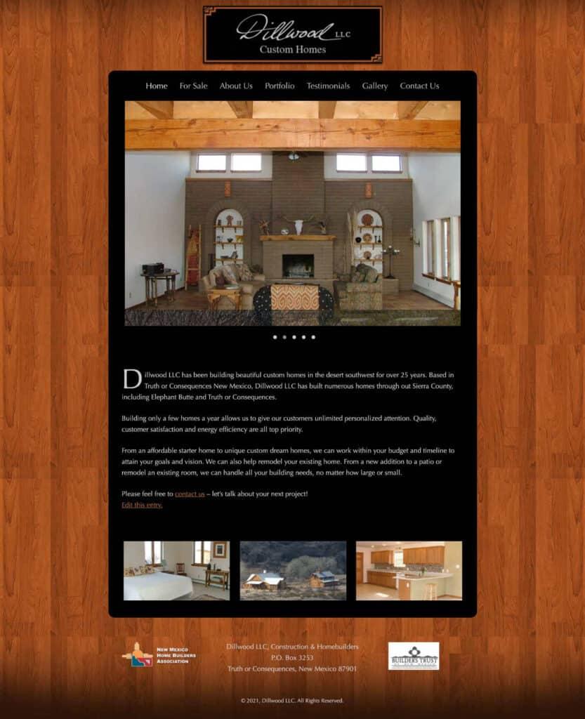 website design: Dillwood Construction, homebuilders in Sierra County NM