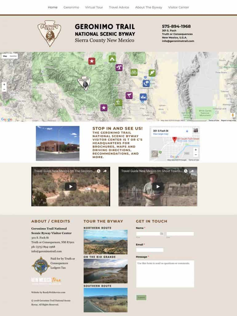 website for Geronimo Trail Scenic Byway