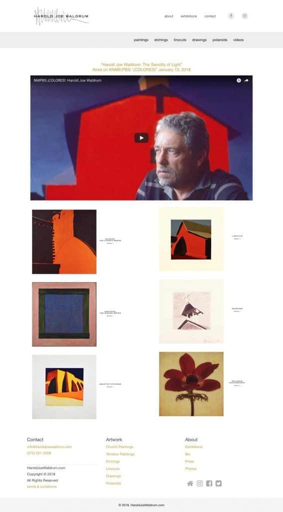 website for artist Harold Joe Waldrum