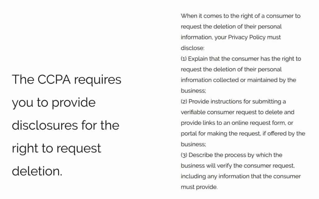the CCPA grants website users the right to data deletion